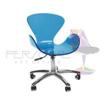 Cadeira Acrílica Swan Cisne Base Office - Loja Tim/azul Bic
