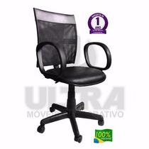 Cadeira Escritório Giratória Com Braço Tela Executiva