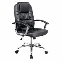 Cadeira De Computador Presidente Almofadada Preta