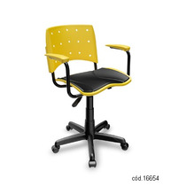Cadeira Escritório Giratória Com Braço E Estofado Amarela