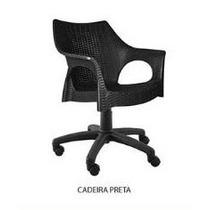 Cadeira Office Com Pé Rodízio Cromado Para Escritório Preto