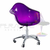 Cadeira Acrílica Dar Torre Inox - Loja Vivo Roxa/púrpura