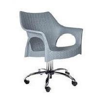 Cadeira Office Com Pé Rodízio Cromado Para Escritório Azul