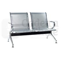 Cadeira Longarina 2 Lugares P/ Sala De Espera - Prata