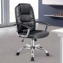 Cadeira De Computador Presidente Preta Couro Pu