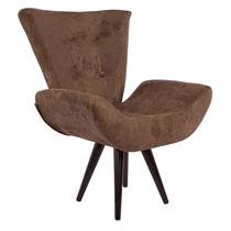 Cadeira / Poltrona Ecoline Emilia Marrom Chocolate Pé Palito