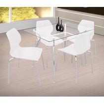 Kit 4 Cadeiras De Jantar Em Pp Amarela Pé Cromado