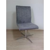 Cadeira Decoração Sala Poltrona Sofá Pé Em Alumínio Suede