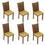 Conjunto 6 Cadeiras Lucy Madesa Rustic/palha