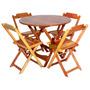 Conjunto Dobrável Mesa Redonda 1,00 Com 4 Cadeiras Madeira