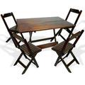 Jogo De Mesas 4 Cadeiras Dobraveis 120x70 Madeira Lei Maciça