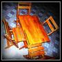 Mesa Bar Dobrável 80x80-4 Cadeiras Em Madeira Maciça