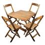 Jogo De Mesa E Cadeira Dobrável De Madeira 90x90cm Natural
