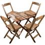 Conjunto De Cadeira E Mesa Dobrável Em Madeira 70x70 Natural