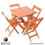 Conjunto Mesa 70x70 4 Cadeiras Dobrável Madeira Natural Cia
