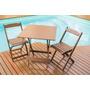 Jogos De Mesas Bar 70x70 Com 2 Cadeiras Dobrável Em Madeira