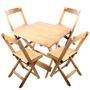 Conjunto De Cadeira E Mesa Dobrável Em Madeira 80x80 Natural