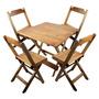Conjunto De Cadeira E Mesa Dobrável De Madeira 70x70 Natural