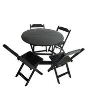 Conjunto Mesa Redonda 90cm 4 Cadeiras Dobrável Preto Cia Bis