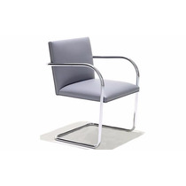 Cadeira Brno Tubular Cromada-couro Natural 1 Ano De Garantia