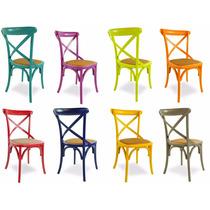 Cadeira Paris Colorida Carvalho Americano E Assento Rattan