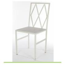 Cadeira De Ferro Branca Assento Branco