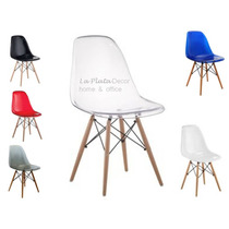 Cadeira Charles Eames Base De Madeira - Transparente - Dkr