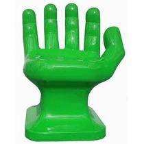Cadeira Plastica Formato Mão Grande Decorativa - Verde