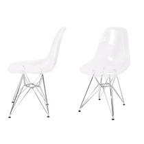 Cadeira Charles Eames Dkr Acrílico Transparente Base Cromada