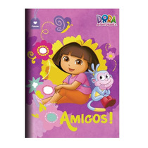 Caderno Capa Dura Brochura Costurado 96 Folhas Dora Aventure