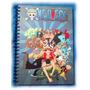 Caderno 200 Folhas Capa Dura Anime One Piece Com Adesivos