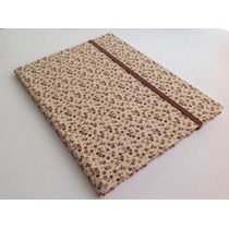 Caderno Brochura S/ Pauta 200x275 Capa Tecido Floral Marrom