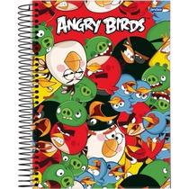 Kit C/ 4 Cadernos Grande 1mat 96fls Angry Birds Sortido