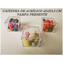 Caixinha De Acrilico 4x4 Tampa Presente R$ 0,45