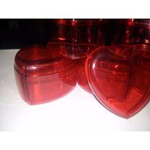 70 Caixinhas Acrilico Coração 4,5x4,5 Vermelha Lembrancinhas