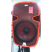 Caixa Ativa Vermelha 15 Pol Usb Bluet 2 Mic Sem Fio, 500 Rms
