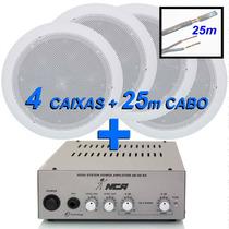 Kit Caixa Acústica Amplificador Música Som Ambiente Arandela