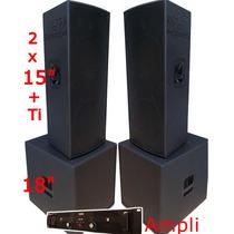 Kit Caixas De Som Com Amplificador 4000rms 2x15ti + 2 Sub18