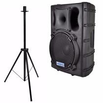 Kit Caixa De Som Ativa Csr 4000a Usb 300w 15pol + Pedestal
