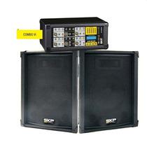 Kit Caixa Mixer Ativo Skp Crx-620 2 X 150w Rms Efeitos Usb M
