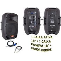 Kit Caixa Som Ativa 12 + Caixa Passiva 12 + Cabos Brinde