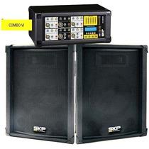 Kit Combo Crx620 Skp 2 Caixas 800 Wts 12 Pol + Mesa 6 Canais