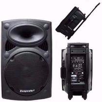Caixa Som 15 Ecopower 400w Rms Bluetooth 2mic S/fio Bateria