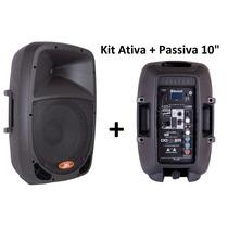 Caixa Som Ativa + Caixa Passiva 120w Rms Bluetooth Fm Dr10