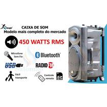 Caixa De Som Completa Com Rodinha/microfone/bateria/bluet...