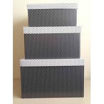 Caixa Para Presente - Kit Quadrado Gg Poá Preto E Branco
