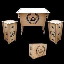 Kit Provençal Coroa Ramos 1 Mesa 2 Cubos 1 Caixa Presentemdf