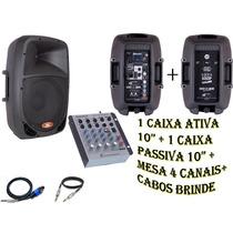 Kit Caixa Som Ativa + Passiva + Mesa Som Usb Frete Grátis