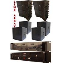 Kit 8 Line Array + 4 Sub 18 + 2 Amplificadores 7200+900rms