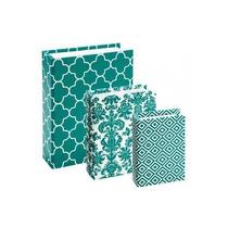 Conjunto Caixa Livro 3 Peças Book Box Verde Tiffany Turquesa